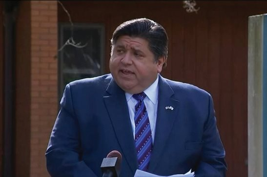 Gov. J.B. Pritzker announces the extension of a statewide moratorium on residential evictions during a news conference Friday in Elgin.