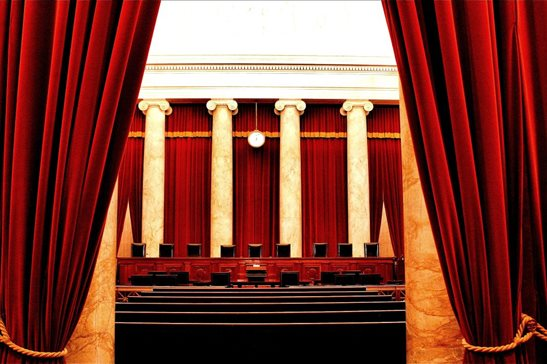 A 2011 photo of the empty bench and gallery inside the U.S. Supreme Court's chamber. While the court records audio proceedings, video is still off-limits. Two Illinois Democrats in Congress are among the lawmakers pushing to change that policy.