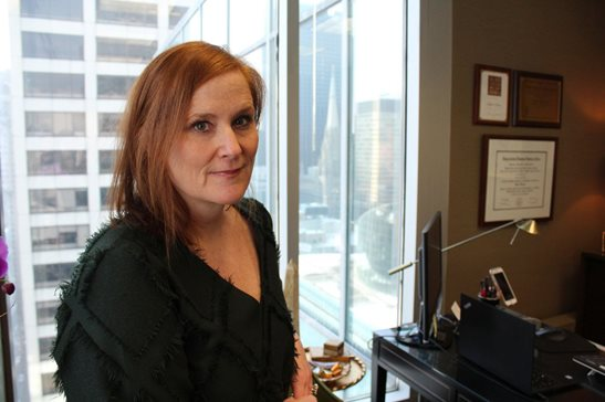 Schiller DuCanto & Fleck LLP's Meighan A. Harmon is pictured in her downtown office. She is now the family law firm's managing partner, the first woman to hold that position since the firm launched in 1981.