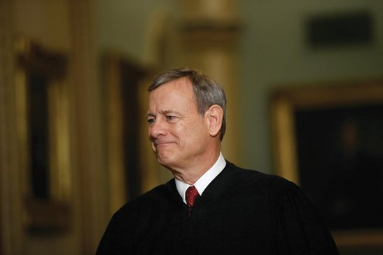 Chief Justice John Roberts walks to the Senate chamber at the Capitol in Washington in January.