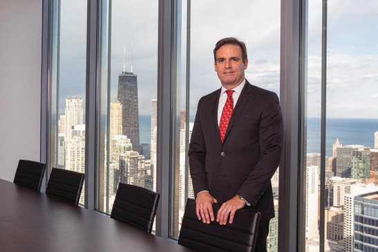 Harris L. Kay, managing partner of Murphy & McGonigle's Chicago office, at the financial services boutique firm's newly opened LaSalle Street space.