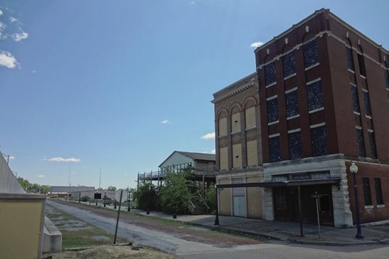Vacant storefronts line the riverfront in downtown Cairo, at the southern tip of Illinois where the Mississippi and Ohio Rivers converge. The state is hoping to redevelop the river port into a shipping hub. Flickr photo/Paul Sableman via CC-BY-2.0