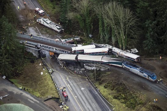On Dec. 18, 2017, Amtrak's first paid passenger run on a new route from Tacoma, Wash., to Portland, Ore., derailed onto Interstate 5 near DuPont, Wash., killing three people and injuring more than 60 others. On Friday, a jury in Tacoma federal court awarded nearly $17 million to three plaintiffs in a damages trial stemming from the incident.