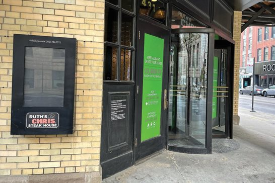 The now vacant Ruth's Chris Steak House at 431 N. Dearborn St. in Chicago. A federal judge denied a motion by the steakhouse for judgment on the pleadings in a lawsuit accusing it of breach of contract for failing to pay its rent.