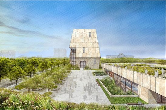 An illustration of the proposed Obama Presidential Center in Jackson Park issued by the Obama Foundation in 2017. A judge heard arguments today on a city motion to toss a parks advocacy group's lawsuit that argues the project violates laws barring development in lakeside parks.