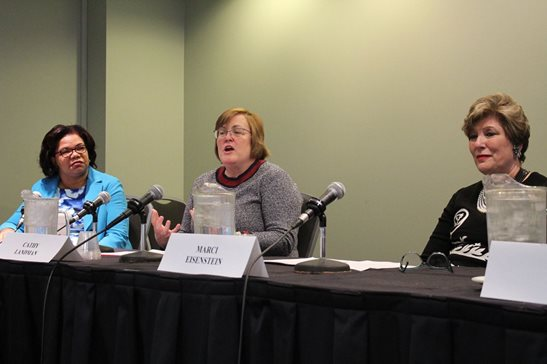"Catherine R. Landman (center), chief legal and human resources officer for the kitchenware company Corelle Brands, discusses lessons she's learned in her legal career as part of a panel, ""Where We Are, Where Do We Go From Here?"" during The Chicago Bar Association's inaugural Working Women's Legal Summit on Friday. She was joined on the panel, one of several during the daylong program, by Cook County Assistant State's Attorney Barbara L. Dawkins (left), Schiff Hardin LLP managing partner Marci A. Eisenstein (right)."