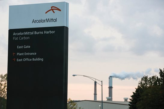 A sign outside of the ArcelorMittal Burns Harbor facility in northwest Indiana. A Chicago-based environmental group alleges the plan is violating the Clean Water Act by releasing excess amounts of chemicals into a Lake Michigan tributary.