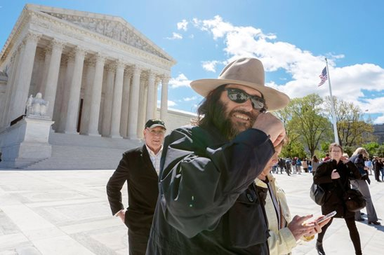 "Erik Brunetti, founder of the streetwear brand FUCT, leaves the Supreme Court after his trademark case was argued Monday. Brunetti says the brand name is an acronym for ""Friends U Can't Trust."" He's seeking relief from the high court after he was denied a trademark because of a federal law that says officials should not register trademarks that are ""scandalous"" or ""immoral."""