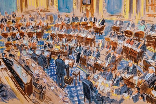 This artist sketch depicts White House counsel Pat Cipollone speaking in the Senate chamber during the impeachment trial against President Donald Trump on charges of abuse of power and obstruction of Congress, at the Capitol in Washington on Tuesday.  Dana Verkouteren via AP