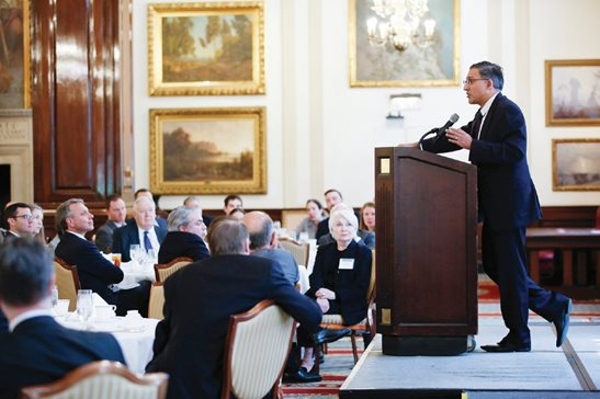 The Illinois Appellate Lawyers Association hosted former U.S. solicitor general Neal Katyal at a luncheon Monday at the Union League Club. Katyal, who also worked in the Obama administration's Justice Department, expressed concern over actions taken by the Trump administration, but also expressed confidence in the American system of government.