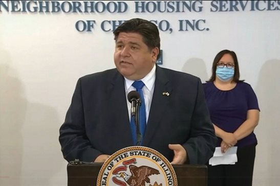 Gov. J.B. Pritzker speaks in Chicago Monday to announce the launch of two housing assistance programs to help people who have had trouble making rent or mortgage payments during the COVID-19 pandemic.
