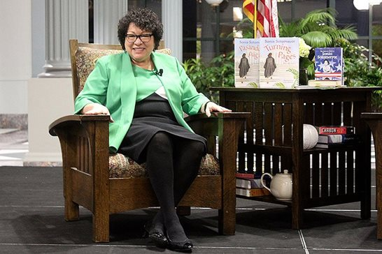 U.S. Supreme Court Justice Sonia M. Sotomayor takes questions during her visit to the Harold Washington Library Building just outside the Loop on Friday. Sotomayor emphasized the importance of the Supreme Court remaining committed to the law and to avoiding any form of partisanship. Law Bulletin photo/Jordyn Reiland