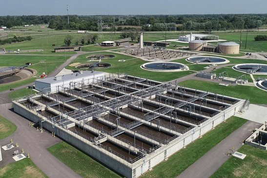 The Sugar Creek Wastewater Treatment Plant located in Springfield. The facility was the site of an  incident where a pressurized leak-testing  tool exploded and killed a construction worker operating it inside a pipe. That case settled for $5,505,000. Photo from a Sangamon County Water Reclamation District press release