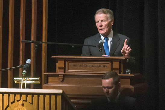 Illinois House Speaker Michael J. Madigan, delivers remarks at the 101st General Assembly inauguration ceremony in 2019. Four people, including an associate of Madigan, have been charged with orchestrating a bribery scheme with Commonwealth Edison.