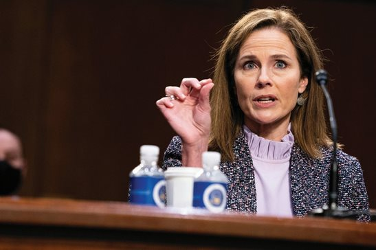 Supreme Court nominee Amy Coney Barrett speaks during a confirmation hearing before the Senate Judiciary Committee on Wednesday.