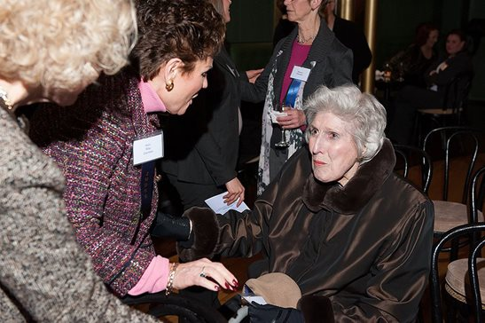 "In this January 2013 file photo, then-retired Illinois Supreme Court justice Mary Ann G. McMorrow (seated) talks with (from left) high court Justices Anne M. Burke and Rita B. Garman prior to a performance of ""Mary and Myra"" at the Casino Dance Club. McMorrow, the high court's first female justice, died the following month at age 83."