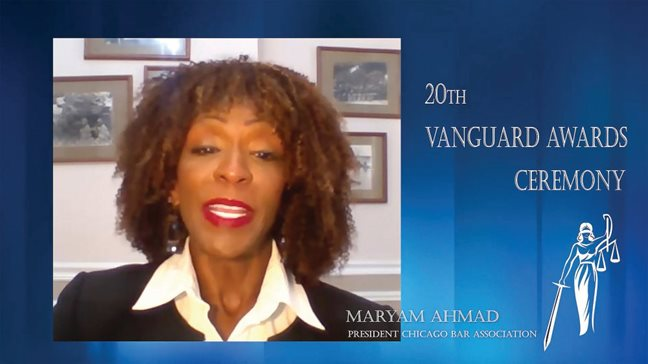 Chicago Bar Association President Maryam Ahmad kicks off the group's 2021 Vanguard Awards event Wednesday. Bar associations throughout the Chicagoland area selected members whose work has made significant impact in the legal marketplace and the region. YouTube screenshot