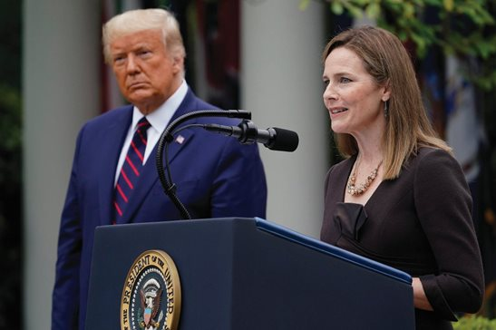 Judge Amy Coney Barrett speaks after President Donald Trump announced Barrett as his nominee to the Supreme Court, Saturday in the Rose Garden at the White House. Barrett, a judge on the U.S. Court of Appeals for the Seventh Circuit, is a divisive nominee to replace the late Ruth Bader Ginsburg because of perceived views on women's reproductive rights, gun control and more.