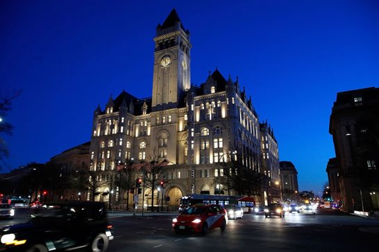 Trump International Hotel in Washington seen in a January 2018 file photo is the subject of a 4th U.S. Circuit Court of Appeals appeal Tuesday. The court will hear arguments in a lawsuit that alleges President Donald Trump is violating the Constitution by profiting off the presidency.