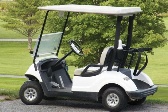 A golf cart at a golf course. A golfer at a Galena resort has settled a lawsuit for $5.3 million after his right ankle was crushed under a tipped golf cart. His Cook County lawsuit alleged the cart path was dangerously designed.