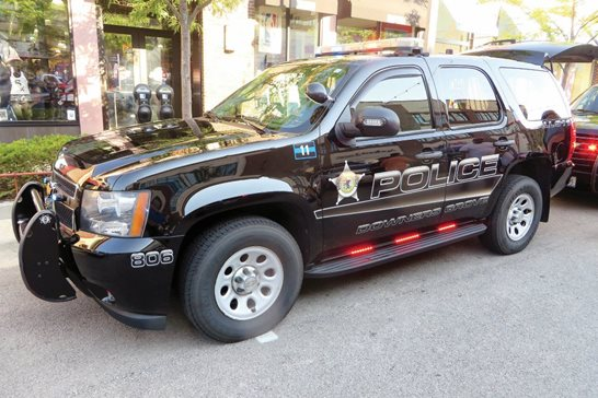 A Downers Grove police vehicle. A federal judge ruled the western suburb's enforcement of its anti-panhandling ordinance violated the free-speech rights of two homeless men. Flickr photo/inventorchris via CC-BY-NC 2.0
