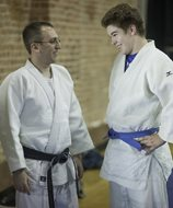 Scott G. Goldstein teaches judo to Michael Mutz, 13. To learn more about the Menomonee Judo Club and its programs, visit brettwolfjudo.com.