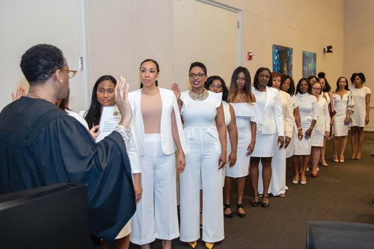 U.S. District Judge Sharon Johnson Coleman swore in the new board of the Black Women Lawyers' Association on June 3 at the Chicago offices of Kirkland & Ellis LLP.