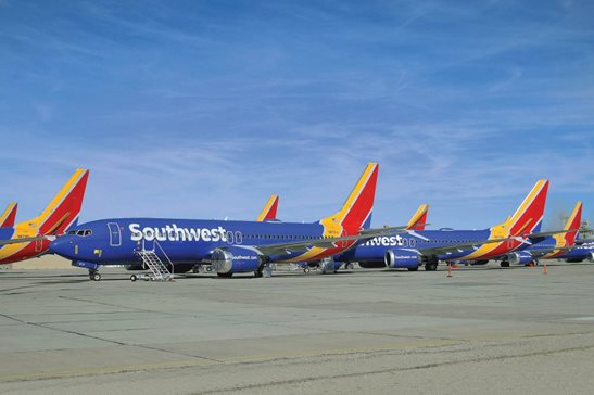 Southwest Airlines Boeing 737 MAX airliners sit at the Southern Logistics Airport in March 2020, in Victorville, Calif. Southwest temporarily stored its 737 MAX fleet due to the worldwide grounding order as a result of a faulty automated flight control system which is suspected to have contributed to the types crashes in Ethiopia and Indonesia that killed 346 people.