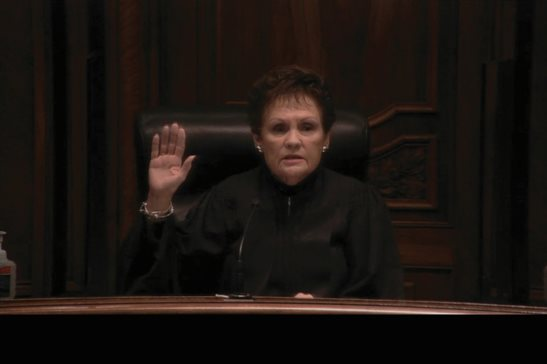 Illinois Supreme Court Justice Rita B. Garman swears in new attorneys to the Illinois bar in a short virtual ceremony on Thursday from the courthouse in Springfield.