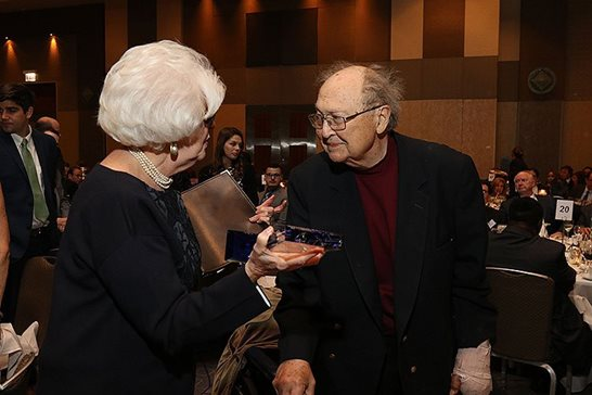 U.S. Bankruptcy Judge Jack B. Schmetterer received the Ilana Diamond Rovner Lifetime Achievement Award from U.S. District Judge Ilana Diamond Rovner on Nov. 8   at the Jewish Judges Association of Illinois' 16th annual award and installation dinner at the Hyatt Regency Chicago. Photo provided by the Jewish Judges Association