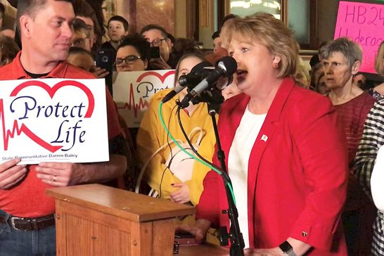 State Rep. Terri Bryant, R-Murphysboro, speaks during a rally Wednesday in the Illinois Capitol rotunda against two abortion bills under consideration. Bryant called for activists to flood lawmakers with electronic witness slips, or online clicks, in opposition. Further she said she would request each name be read on the House floor.