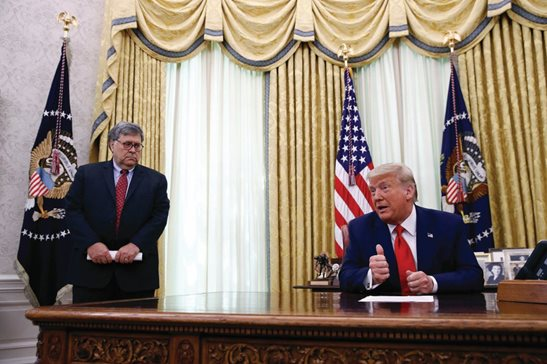 President Donald Trump speaks alongside Attorney General William Barr during a law enforcement briefing on the MS-13 gang in the Oval Office last month. Barr is scheduled to appear for the first time before the House Judiciary Committee on Tuesday.