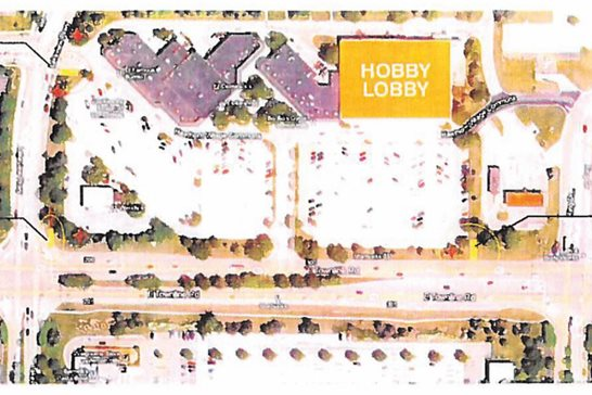 An illustration of the Hawthorn Village Commons shopping center in Vernon Hills, where Hobby Lobby has sued to stop construction of a new Panda Express in the outlot. A Lake County judge last week issued a temporary restraining order on further construction.