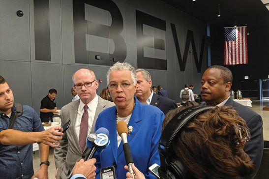 Cook County Board President Toni Preckwinkle, in her role as chair of the Cook County Democratic Party, addresses reporters after the party announced its slate of candidates for the March 2020 primary on Friday at the IBEW's South Side headquarters.