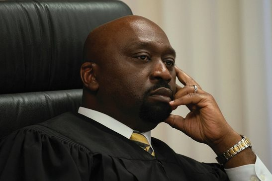 Cook County Circuit Judge Thaddeus L. Wilson presides over closing arguments during a murder trial in October 2019 at the Leighton Criminal Court Building. On Sept. 10, Wilson will become the new president of the Illinois Judicial Council, an association of Black judges.